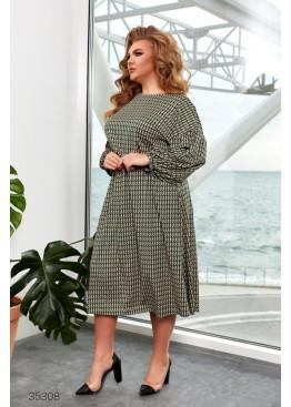 Платье миди с геометрическим принтом, зеленый