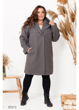 Пальто прямого кроя из букле с капюшоном, серый