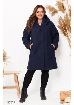 Пальто прямого кроя из букле с капюшоном, синий