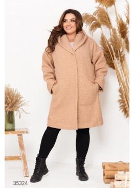 Пальто прямого кроя из букле с капюшоном, бежевый