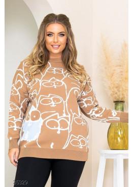 Вязанный свитер с принтом, бежевый