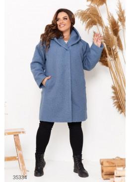Пальто прямого кроя из букле с капюшоном, голубой