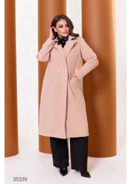 Кашемировое пальто прямого кроя, бежевый