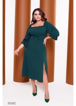 Платье миди с высоким разрезом, зеленый