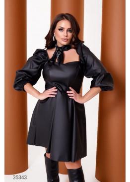 Платье мини из искусственной кожи, черный
