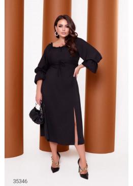 Платье миди с высоким разрезом, черный