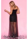 Раскошное чёрное платье  макси с юбкой из фатина на бретелях