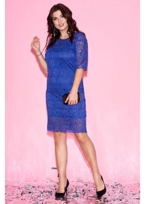 Платье мини из гипюра синего цвета с рукавами клёш