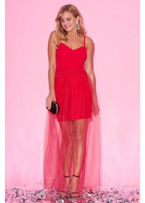 Раскошное красное платье  макси с юбкой из фатина на бретелях