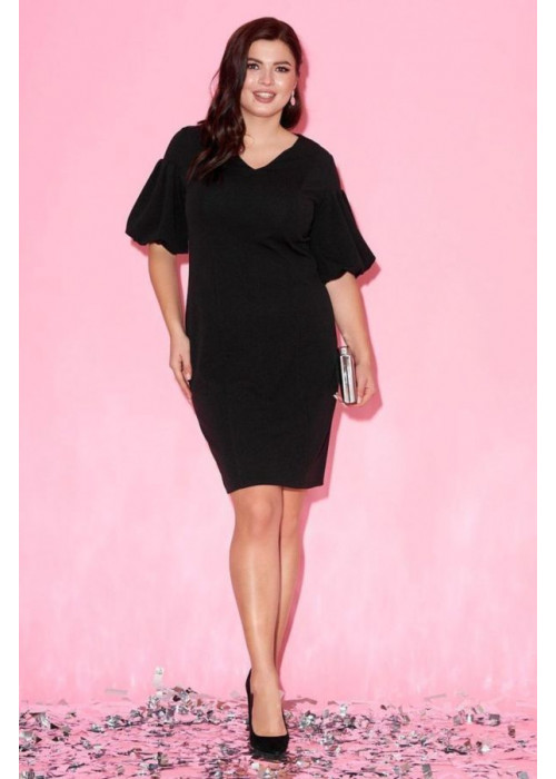 Платье с рукавами-фонариками чёрного цвета