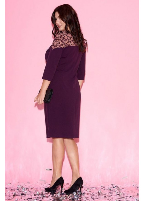 Платье-футляр с контрастной вставкой, бордо