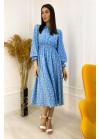 Летнее платье миди в горох с резинкой на талии, голубое