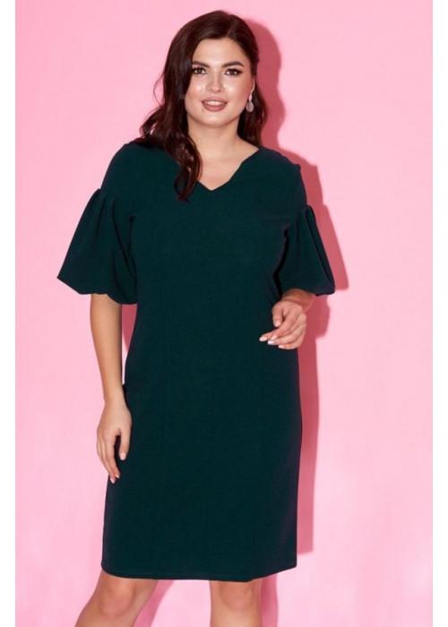 Платье с рукавами-фонариками изумрудного цвета