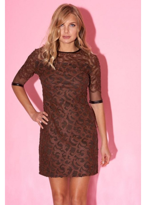 Платье мини с отделкой из эко-кожи коричневого цвета
