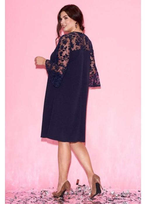 Платье мини с сетчатой вставкой на рукавах и фактурным цветочным принтом
