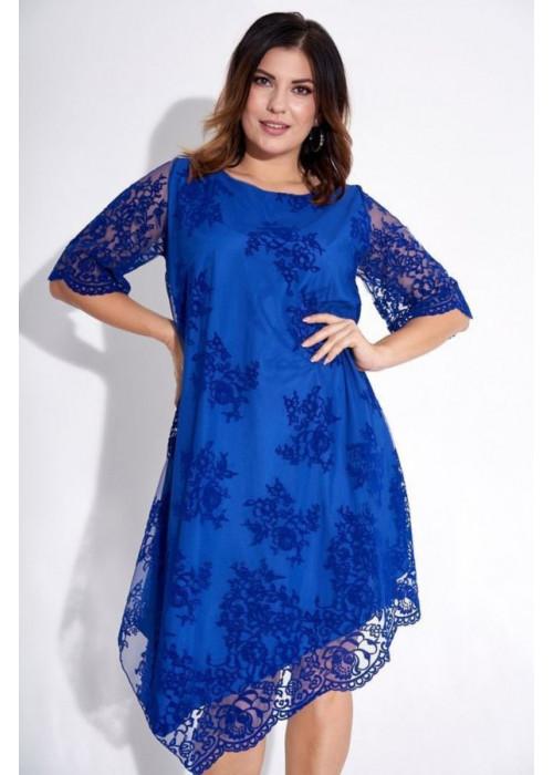 Асимметричное синее платье с фактурным принтом