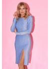 Платье из люрекса с высоким разрезом и сборками на плечах, голубое