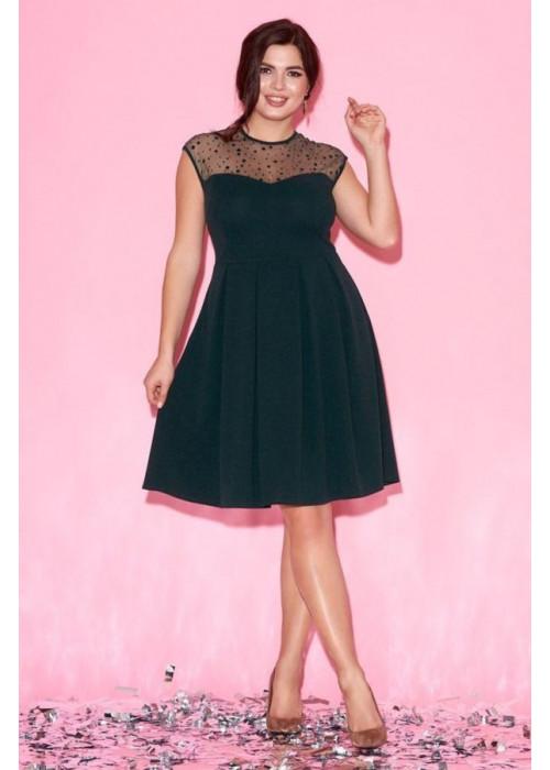 Изумрудное платье с сетчатой вставкой в фактурный горох