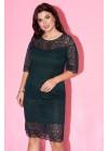 Платье мини из гипюра изумрудного цвета с рукавами клёш