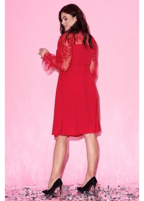 Платье с запахом и объёмными рукавами в сетку с вышивкой, красный