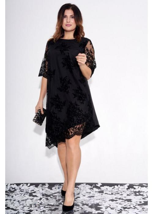 Асимметричное чёрное платье с фактурным принтом
