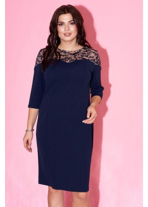 Платье-футляр с контрастной вставкой, синее