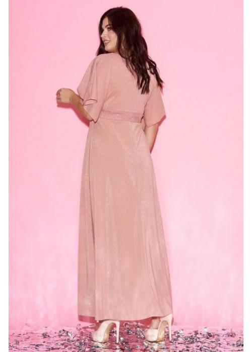 Платье макси с рукавами-кимоно персикового цвета
