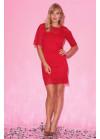 Платье мини из гипюра с рукавами клёш, красное