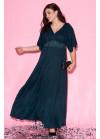 Платье макси с рукавами-кимоно изумрудного цвета