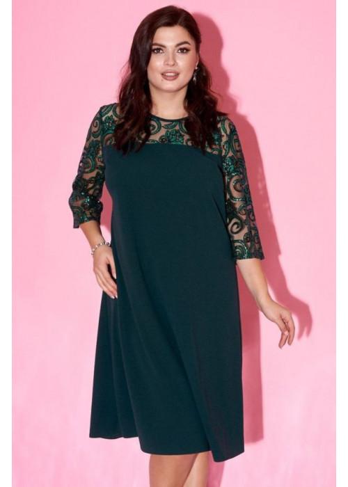 Платье-трапеция с рукавами с оборками