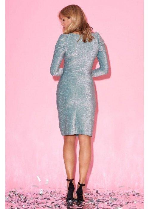 Платье из люрекса с высоким разрезом и сборками на плечах, мята