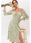 Цветочное платье Пала с открытыми плечами, оливка