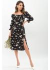 Цветочное платье Пала с открытыми плечами, черное