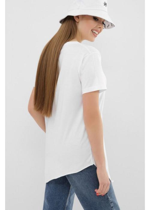 Асимметричная футболка VR белого цвета с коротким рукавом