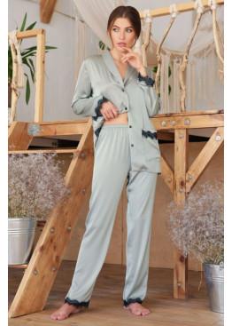 Шёлковые штаны с кружевом Долорес, мята