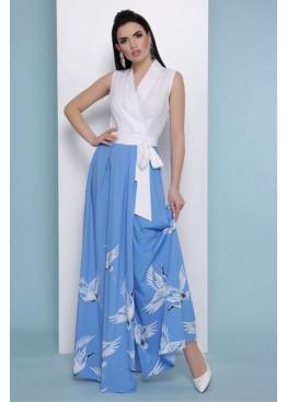 Платье Аисты макси, бело-голубое