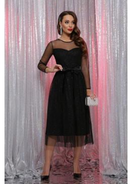 Расклешенное нарядное платье миди черного цвета Маулина