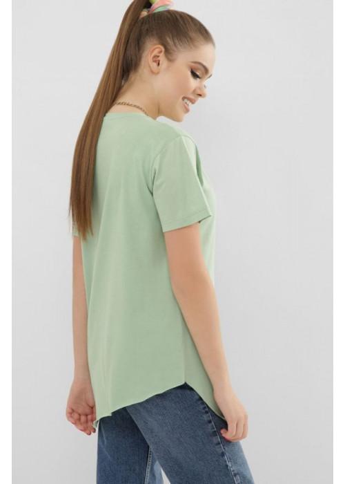 Асимметричная футболка VR мятного цвета с коротким рукавом