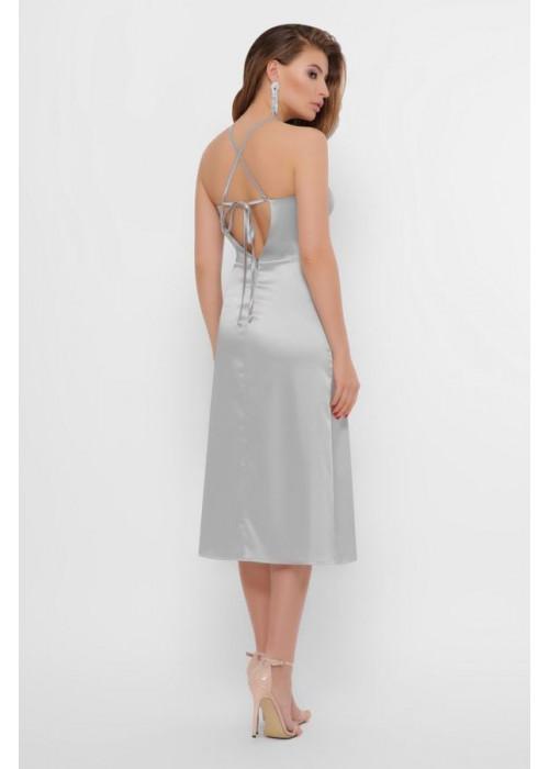 Атласное платье миди прямого кроя на бретелях