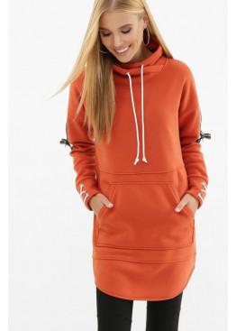 Длинное худи оранжевого цвета из трикотажа тринитки