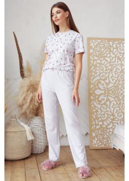 Пижамный комплект с брюками Джойс1, серый-фламинго