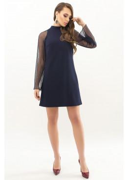 Синее платье мини трапеция Вилма, рукава сетка плиссе