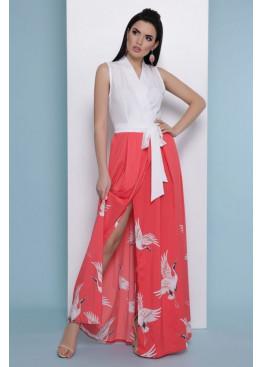 Платье Аисты макси, бело-коралловое