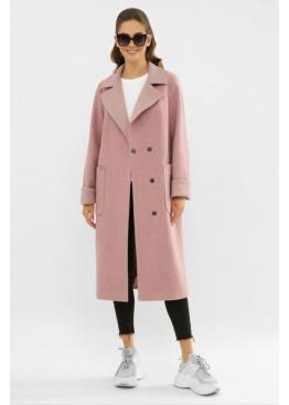 Пальто с поясом из шерсти прямого кроя П-347-110, розовый