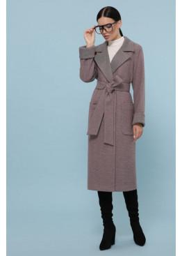Пальто с поясом из шерсти прямого кроя П-347-110, темный беж