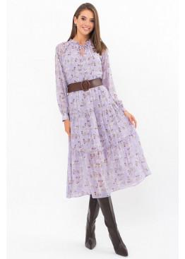 Платье миди Мариэтта, лаванда-белые цветы