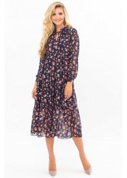 Платье миди Мариэтта, синий-букет разноцветный