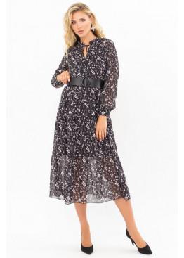 Платье миди Мариэтта, черный-цветы веточки