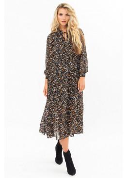 Платье миди Мариэтта, черный-цветы-ягоды