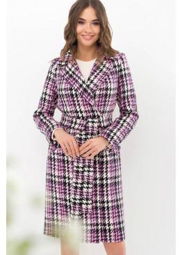 Прямое демисезонное пальто на потайных кнопках, фиолет в черно-белую лапку
